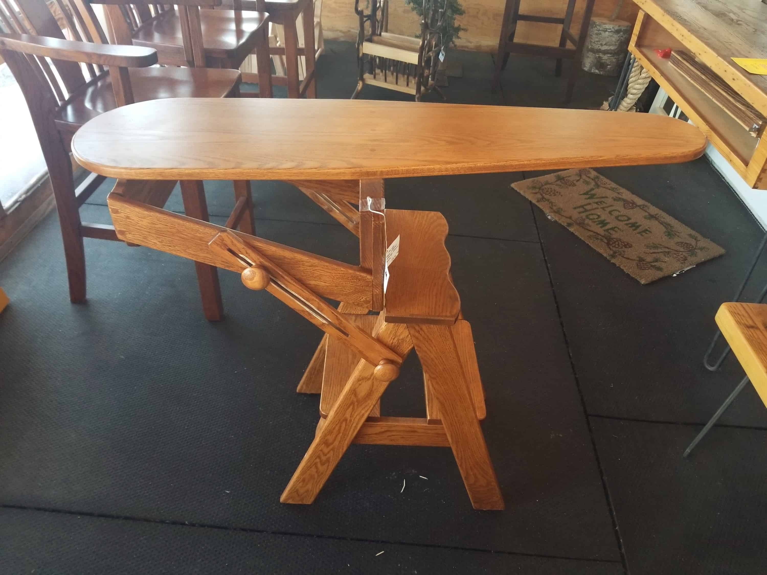 Ironing Board And Step Stool Ladder Shown In Oak Amish Oak