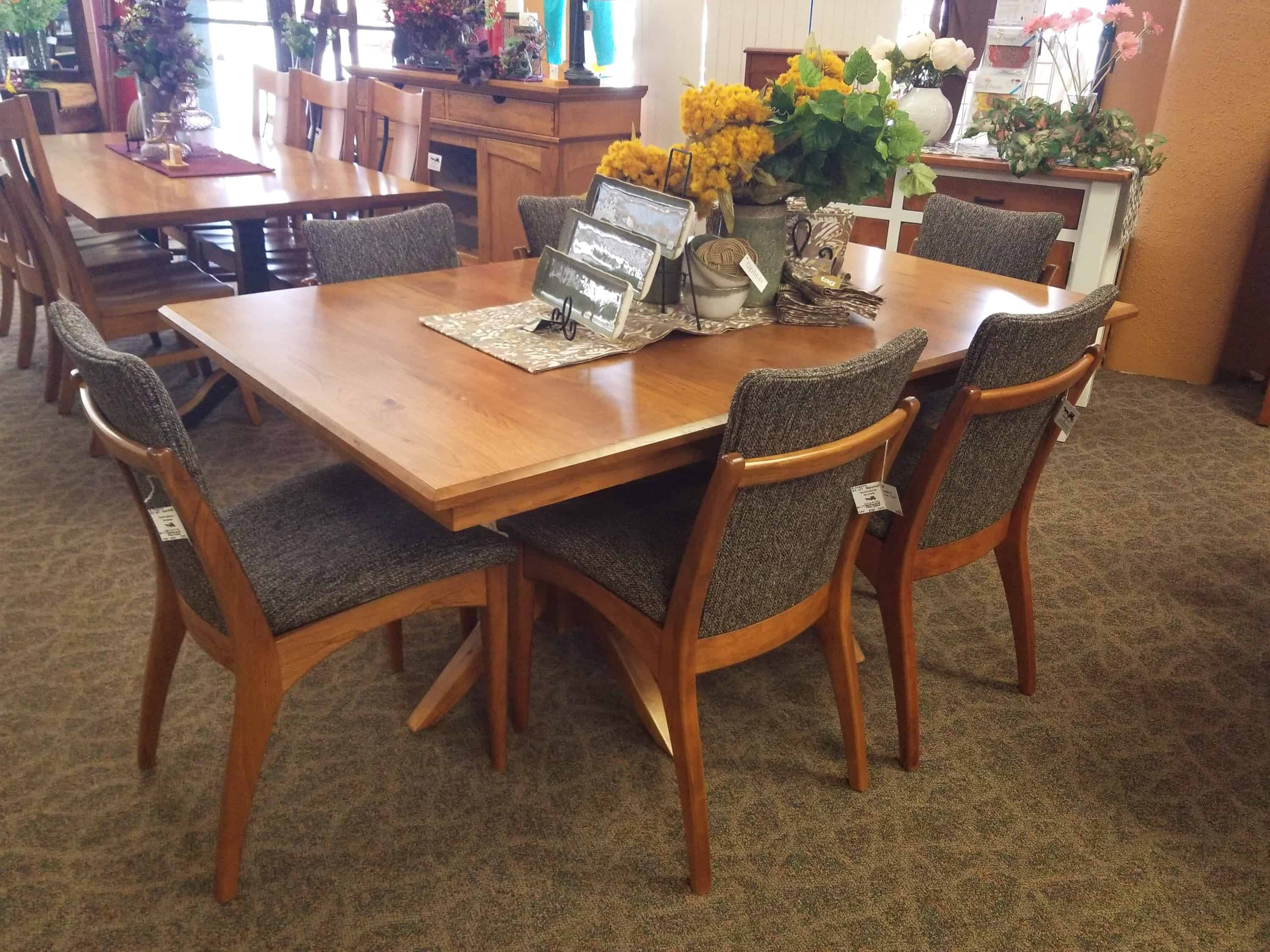 Milan Dining Set, Includes Double Pedestal Table and 6 Madrid Side Chairs  in Rustic Cherry and a Harvest Finish