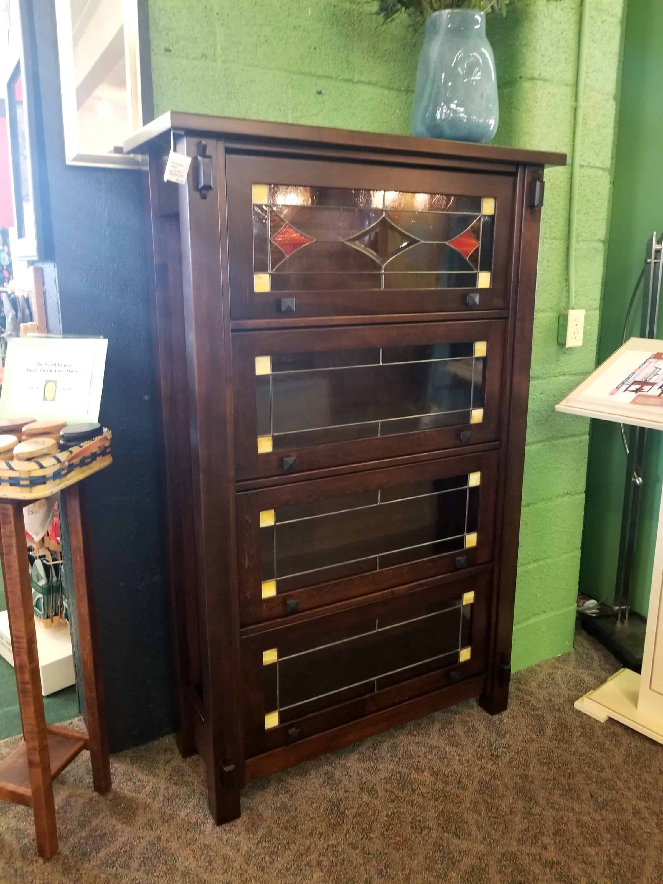 Craftsman 4 Door Barrister Bookcase Shown In Brown Maple With A Rich Tobacco Finish