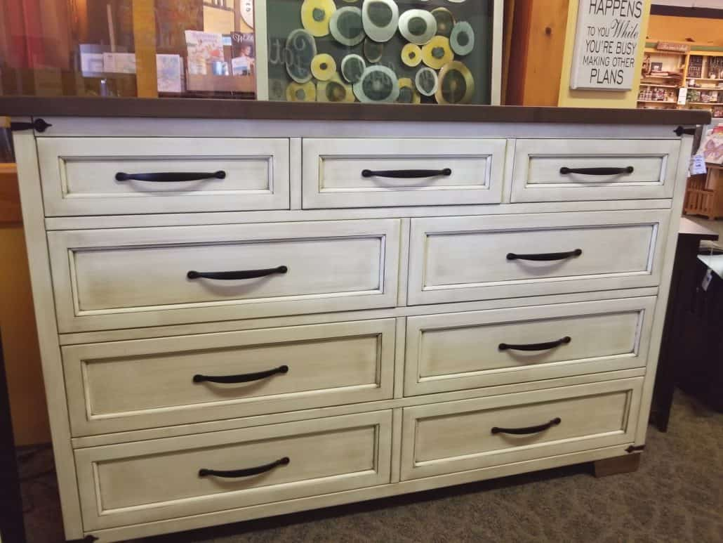 Farmhouse Heritage Tall Dresser Shown In Brown Maple