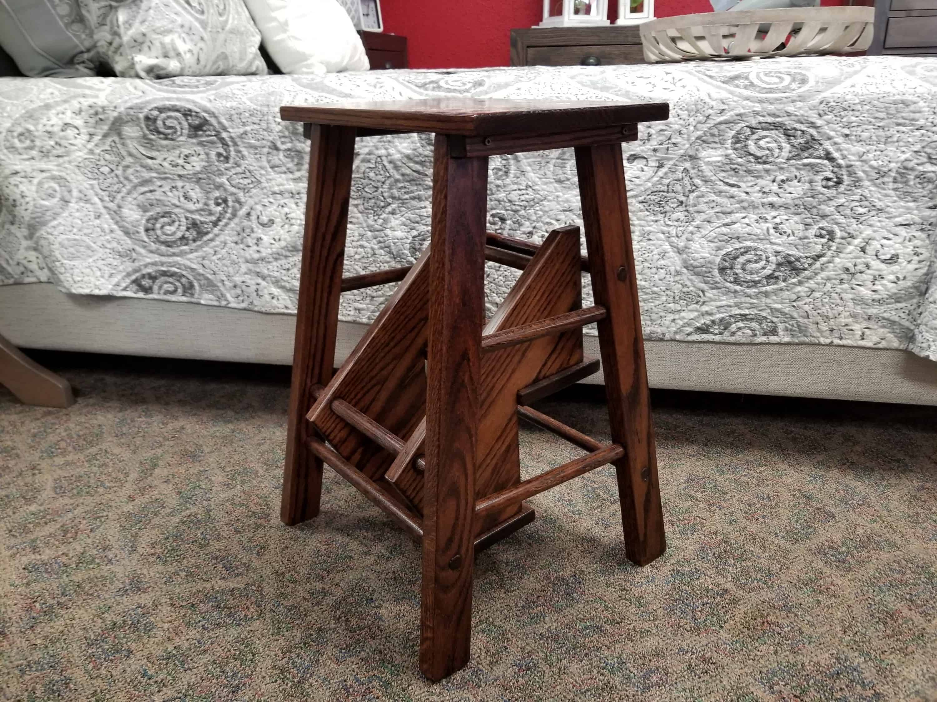 Fold Out Step Stool Shown In Oak With A Boston Finish