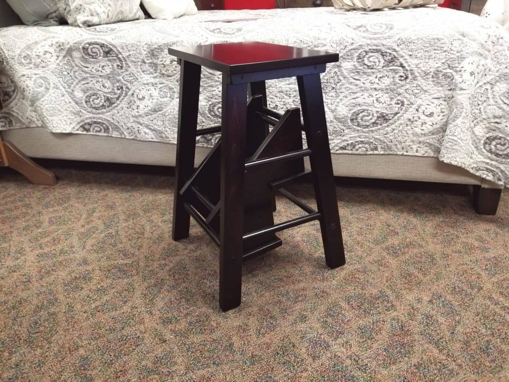 Fold Out Step Stool Shown In Brown Maple Amish Oak