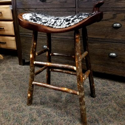 Western Saddle Stool w/ Bark Legs 1