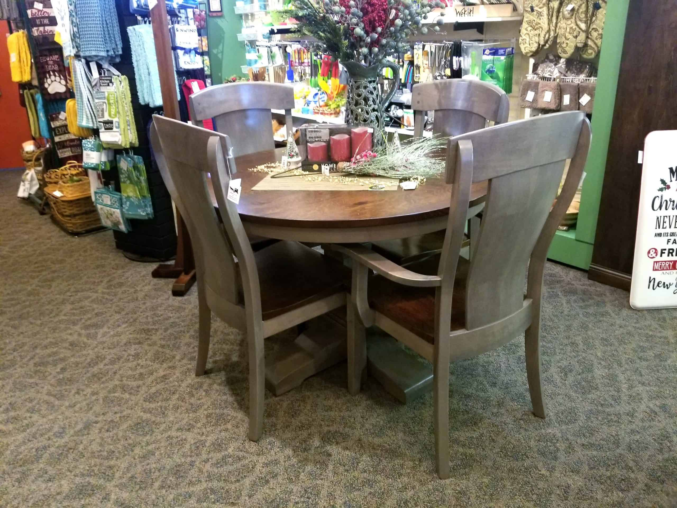 Montana Round Pedestal Table Set Shown In A Two Tone Wood Finish